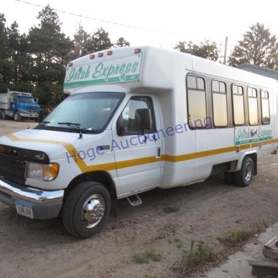 """99 Ford E450 passenger van shows 143,781 miles"