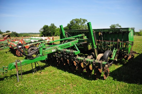 Great Plains Solid Stand 15 w/ grass seeder, on Great Plains cart and cente
