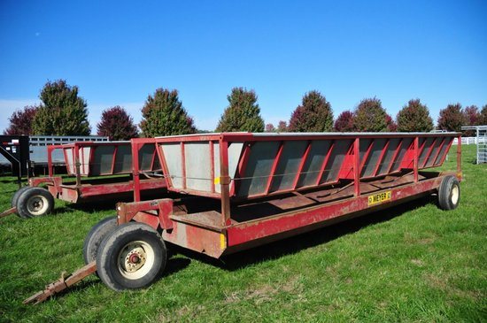 Meyers pull type steel hay/feeding wagon on single axle & dolly wheels