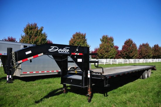 2015 Delta 8'x35' flatbed gooseneck trailer w/ 30' wood floor & 5' steel be