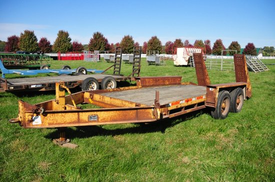 Belshe HD T16 pintel hitch flatbed trailer w/ 2' beaver tail, double ramps