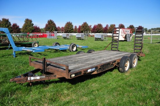 2000 Mac-Lander bumper hitch 16' flatbed, tandem axle trailer w/ dove tail