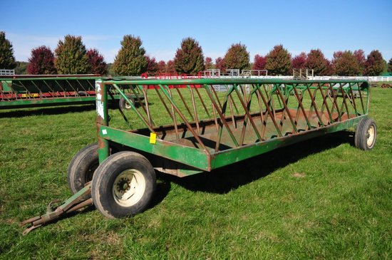 SI pull type steel hay/feeding wagon on single axle & dolly wheels