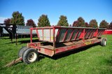 Meyers pull type steel hay/feeding wagon on single axle & dolly wheels