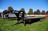 2008 Delta 8'x30' flatbed gooseneck trailer w/ 25' wood floor & 5' steel be