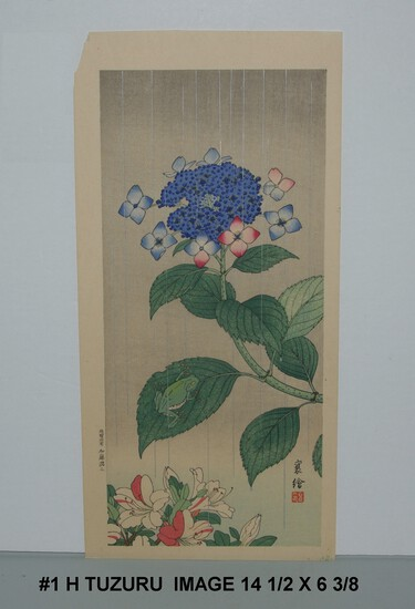 Hashimoto Tuzuru (Jo): Treefrog and Hydrangea 1930