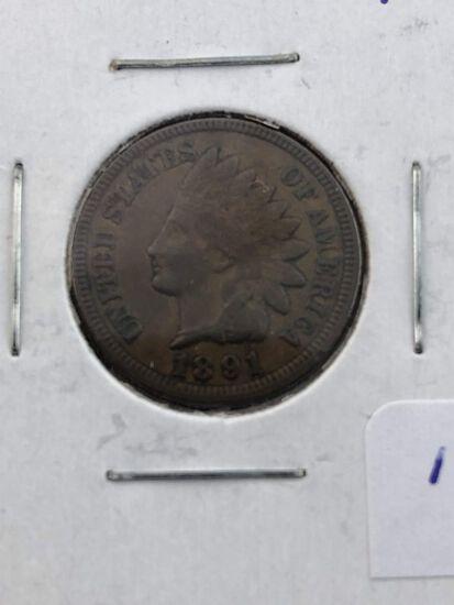 1891 Indian cent AU