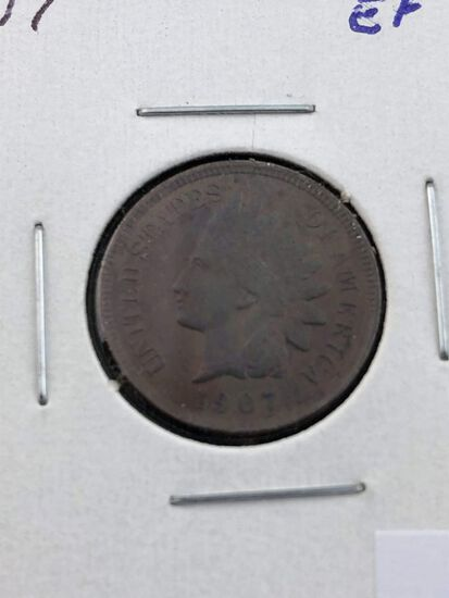 1907 Indian cent EF