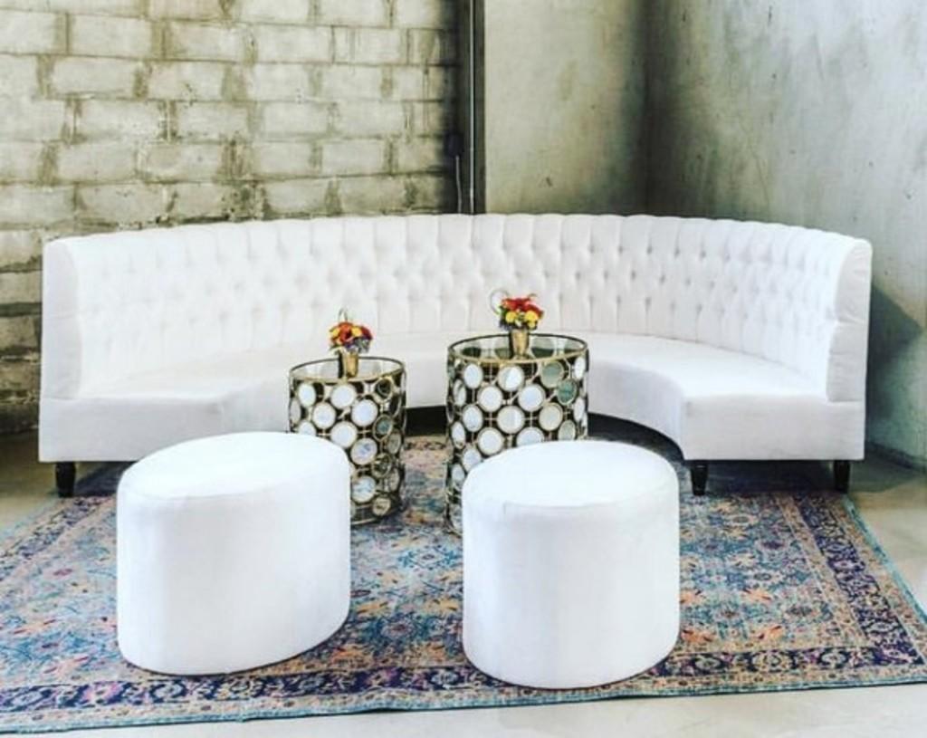 Roosevelt Half Round Sofa Used At Khloe Kardashian/james Harden Party
