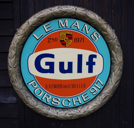 Laurel leaf framed Porsche/Gulf  plaque