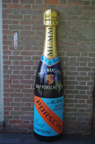 Fibreglass Mumm Champagne//Porsche celebratory bottle