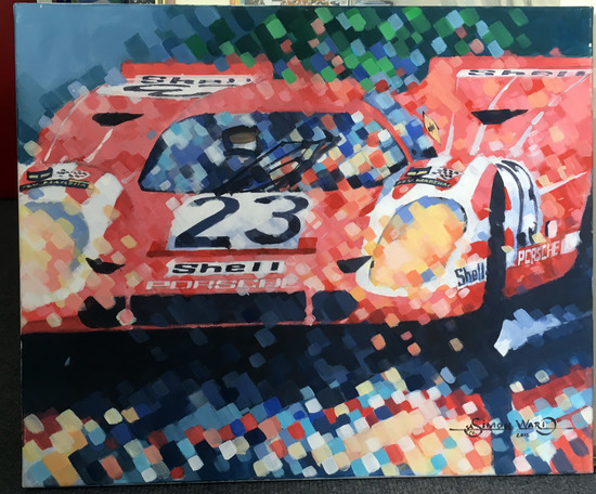A pair of original 917 Inspired acrylics
