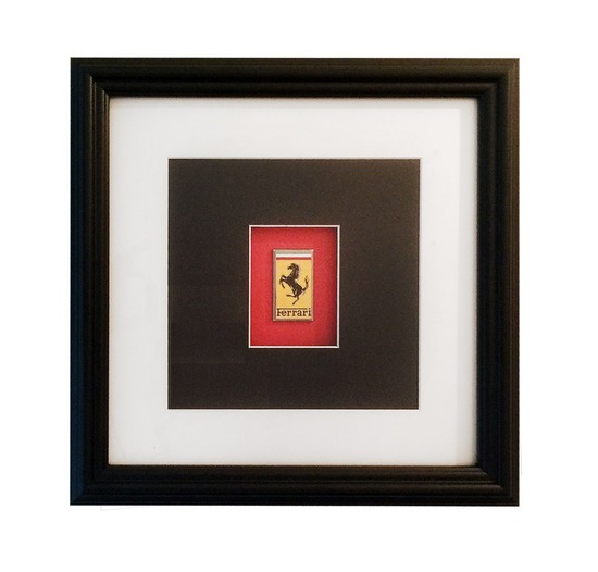 Framed and Mounted Ferrari Enamel Badge*