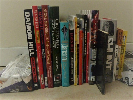 Collection of motorsport related books.