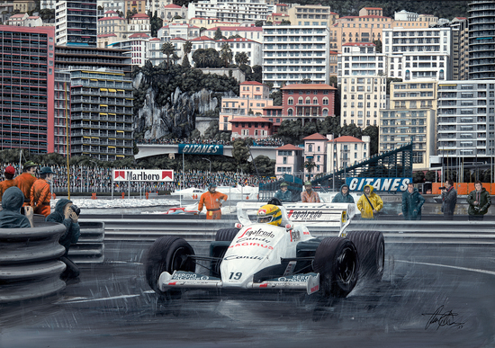 Ayrton at Monaco in 1984. Artist-signed