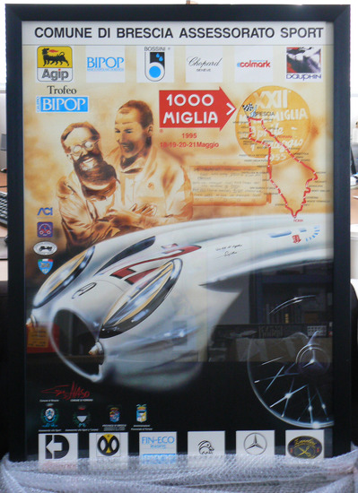 Mille Miglia poster, 1995, signed by Sir Stirling Moss