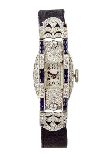 c.1925 Platinum Diamond and Sapphire Cocktail Watch