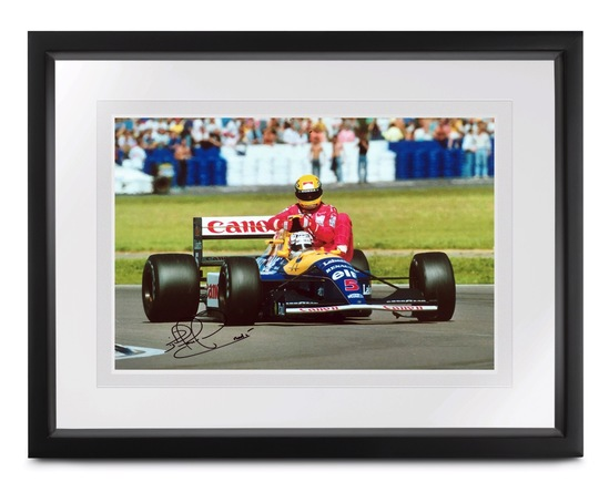 'Taxi for Senna', signed Nigel Mansell CBE