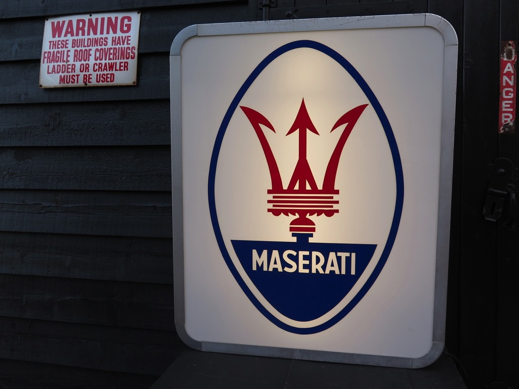 Maserati illuminated dealer sign