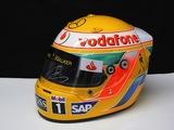 Lewis Hamilton signed replica helmet.