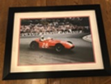 Sir Stirling Moss OBE framed photograph.