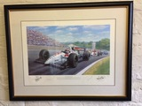 Pair of Nigel Mansell CBE limited edition prints.