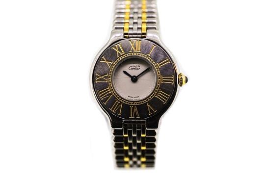 1990 Cartier 21 BI-Metal with integrated bracelet