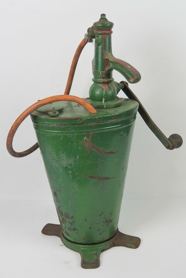 A vintage pre-war portable forecourt oil dispense