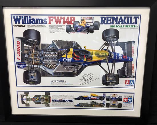 Nigel Mansell-signed, FW14B Tamiya 'Box Art' image