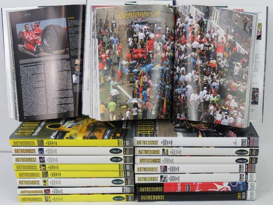 A set of twenty-three Autocourse Grand Prix Annuals from 1996-2018