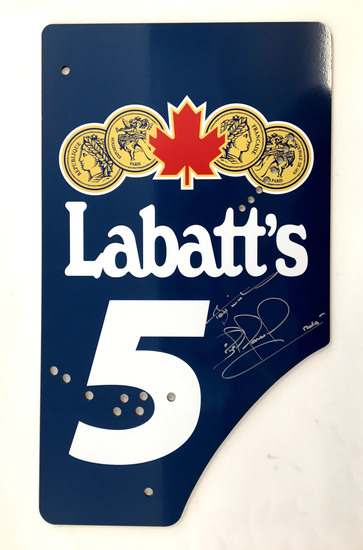 FW14B replica endplate, signed Nigel Mansell CBE