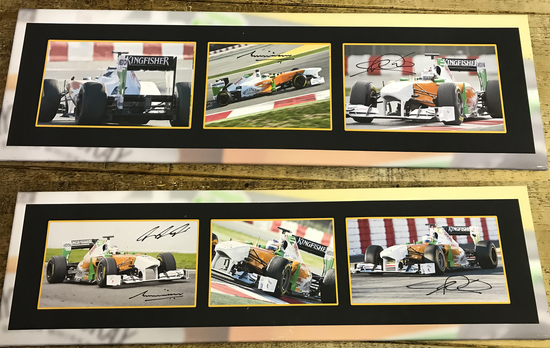 Signed F1 Force India framed images.