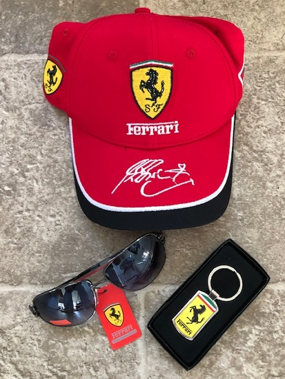 Ferrari branded baseball cap, sunglasses and key fob