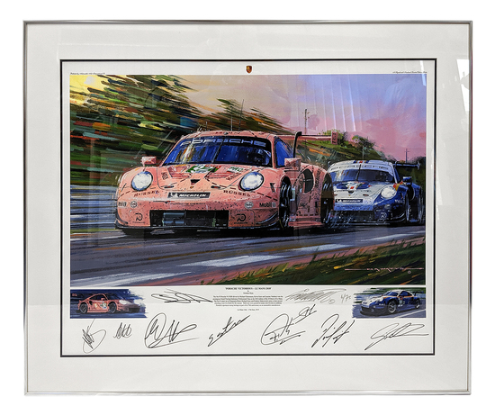Two multi-signed Nicholas Watts prints of Porsche at Le Mans