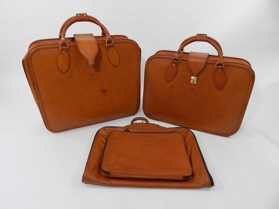 Original Ferrari 355 three-piece Complete Schedoni leather luggage set