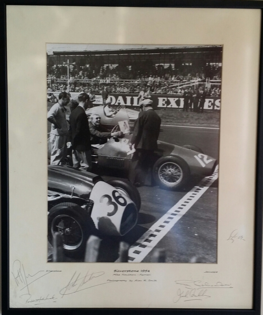 Multi-signed, Alan Smith image of Mike Hawthorn in 1954