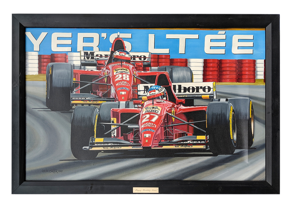 Alesi and Schumacher painting on canvas by Colin Carter, 1995