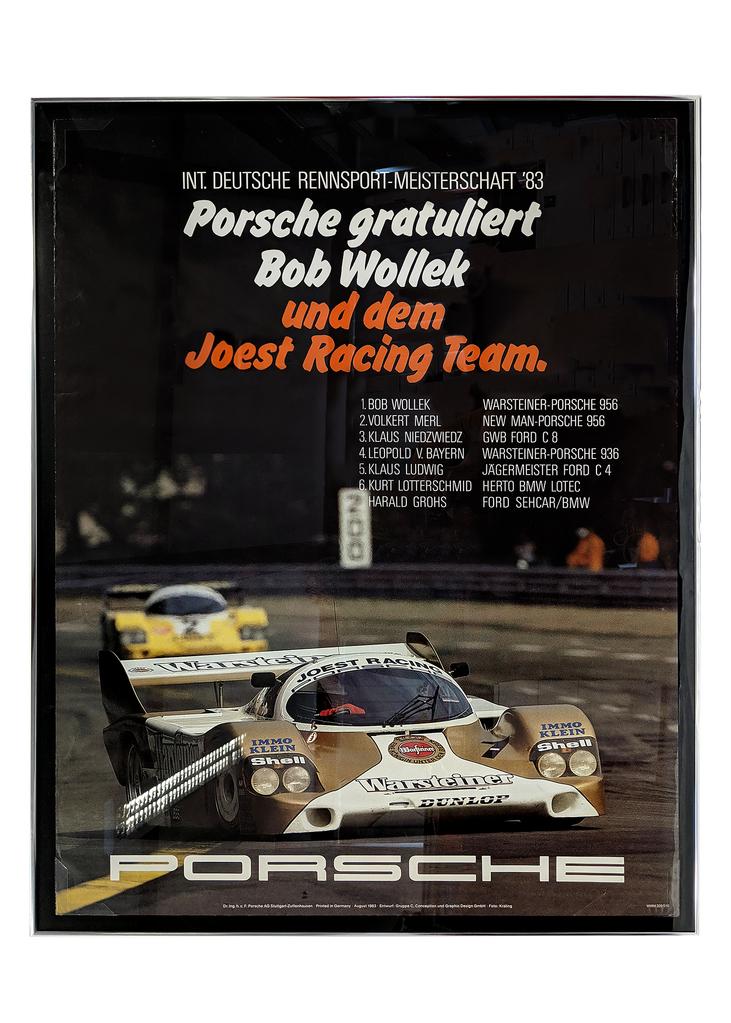 Original German poster featuring Bob Wollek in the 956