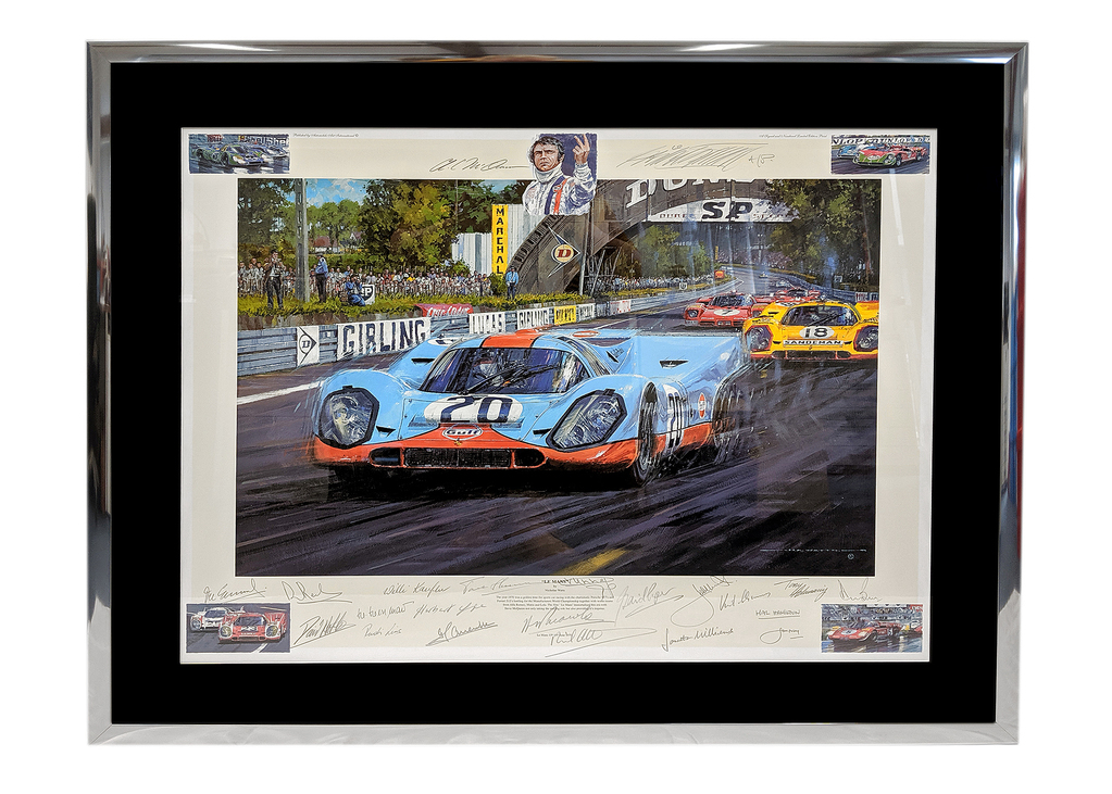 Le Mans by Nicholas Watts. Signed by 21 drivers and actors