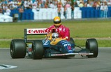 Nigel Mansell-signed 'Taxi for Senna' photograph