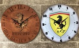 Two Ferrari themed wall clocks