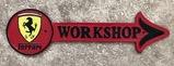 Rare cast metal Ferrari-themed workshop sign