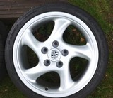 A set of four Porsche Turbo Twist wheels and tyres