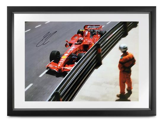 Ferrari F2007 photograph by Michael Hewett signed by Kimi Raikkonen