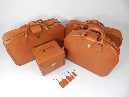 Complete Ferrari 456 four-piece Schedoni leather luggage set