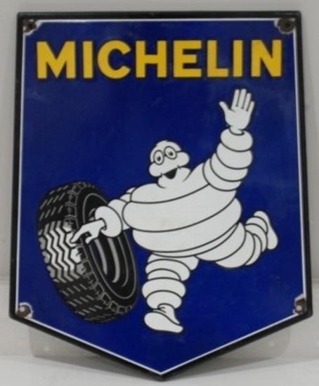 Michelin shield-shaped enamel sign