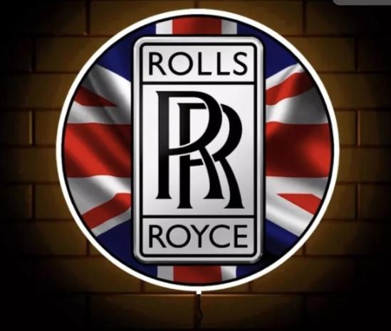 Contemporary illuminated Rolls-Royce themed circular wall sign