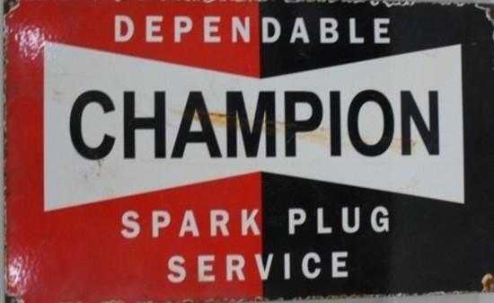 Champion spark plug enamel sign