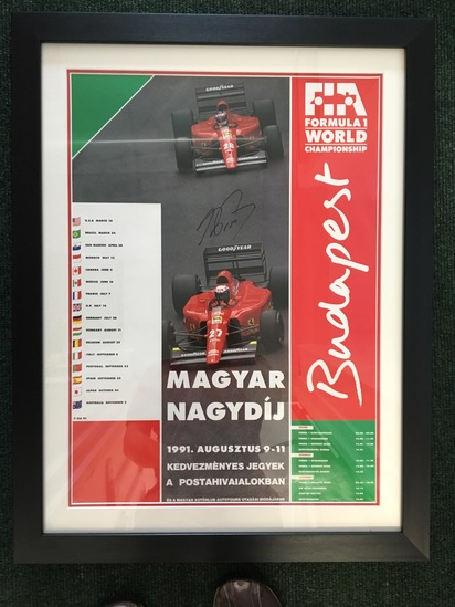 1991 Budapest GP poster, signed by Alain Prost OBE