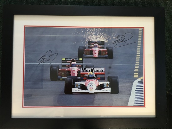 Senna, Prost, Mansell, signed by Nigel Mansell CBE & Alain Prost OBE